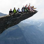 The group having fun at Trolltunga