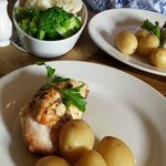 Gorgeous veg with our stuffed chicken