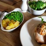 Veg with our stuffed chicken