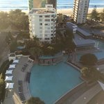 Pool area and Longboards resturaunt from the12th floor