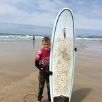 Jack ready for his first hardboard lesson