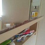 Corroded mirror in caravan 23 bathroom