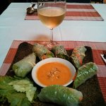 Ratana's spring rolls and glass of Sauvignon blanc
