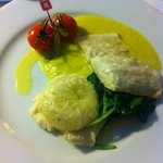 Fillet of seabass with braised and mashed celariac with leek and saffron sauce - amazing!