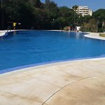 The rear pool. Usually quieter and easier to get a sun bed