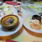 Desserts: crème brûlée, chocolat fondant