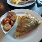 Norwegian crepe and German breakfast in the background