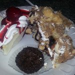 cheesecake, brigadera(chocolate sprinkles) and unknown but really good