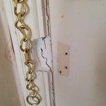 Damage to the door of room 632