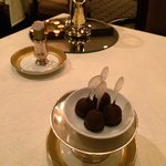 Complementary chocolate covered  ice cream balls. Very good