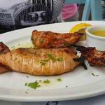 Fired calamari with ladolemono