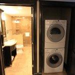 Handy laundry by hallway bathroom