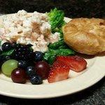Blondie's Fresh shrimp salad, fruit and mini croissant