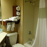 Elegant bathroom with plenty of plush towels.