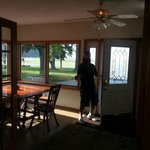 Enclosed front porch where breakfast is served