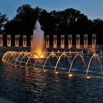 Central fountain at dusk
