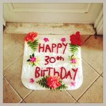 Lindsays birthday was on Wednesday and they made a door mat. Real Flowers