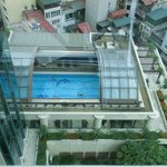 View from room.  Nice pool, with a quick retractable roof if it rains.