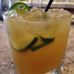 Mango Margarita with jalapeno and cucumber