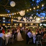 Evening wedding reception at the Ram's Head Inn