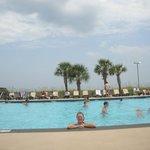 Enjoying one of the many pools