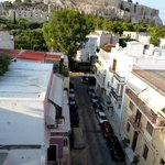 The Acropolis/Plaka pedestrian walkway begins at the end of this street (taken from the balcony)