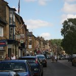 Main street Moreton, bedecked with Union Jack.