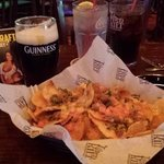 Irish nachos and a Blacksmith, thats Guiness and Smithwick n the same glass.