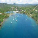Marigot Bay from the helicopter