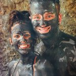 Bathing in volcanic mud