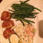 Crab Cakes and Green Beans and Cole Slaw