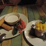 thai coconut milk pudding and chocolate mousse with mango
