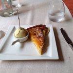 Apricot tart with vanilla ice cream