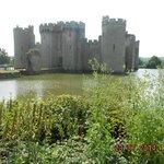 fairy-tale Bodiam Castle with fishy moat