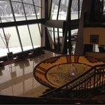 Standing in top lobby looking down on lower atrium and fountain.