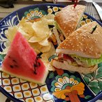 BLT, Watermelon, and chips