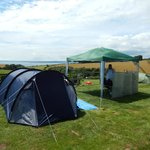 serviced pitch with 3person tent and gazebo