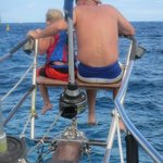 Colt and Uncle Mark enjoying the ride on the bow