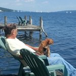 Watching the Saturday morning sailboat races on Seneca Lake