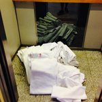 the towels in the elevator