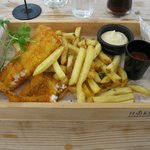 Mmm fish and chips.  Although beware - the red stuff is not ketchup.  :)