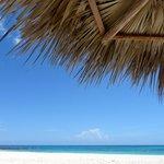 Una delle tre spiagge come vista da sotto l'ombrellone