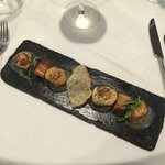 Scallop & Pork Belly with Apple & Cider puree.