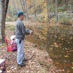 Husban fishing at pond