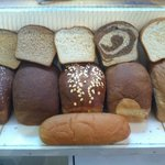 Fresh bread every day: Multigrain, Whole Wheat, Honey Oat, Marbled Rye, Contry White, and White