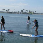 Paddle boarding out on Mission Bay