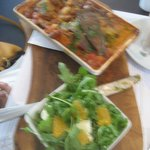 Vegetarian Moussaka with Aubergine, Fennel, Spiced beans, Lentils, etc., with Orange & Rocket Sa