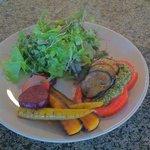 Roasted veggies, fresh sliced tomato with a red wine vinaigrette salad.