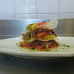 cold lasagne with marinated tuna, anchovies and fried peppers. Beautiful and taste dish !!