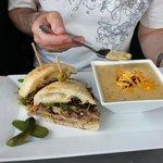 porchetta sandwich with leek & potato soup